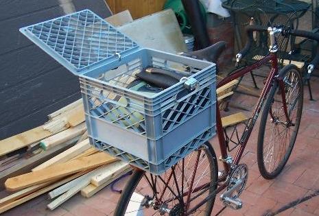 Il cestino per la bici con le cassette della frutta for Cassette di plastica riciclo