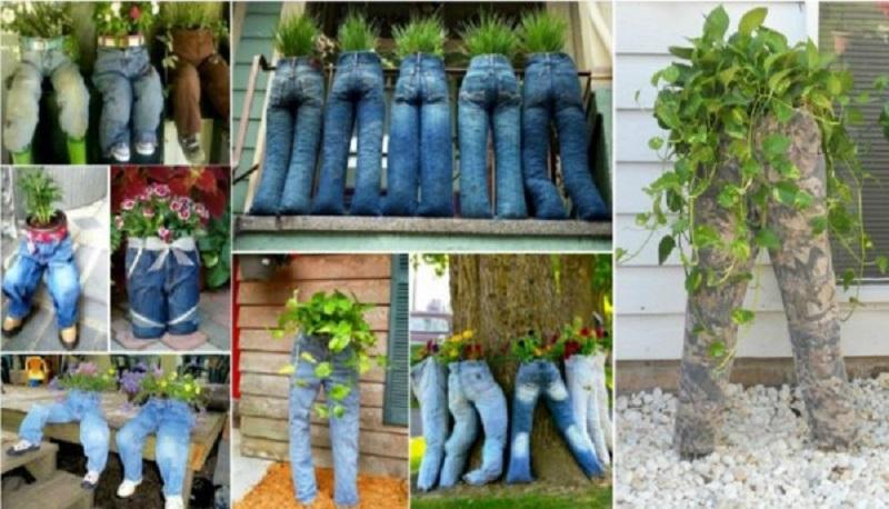 Fioriere jeans for Fioriere fai da te